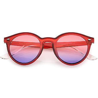 Retro Horn Rimmed Round Sunglasses Keyhole Bridge 53mm