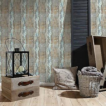 A.S. Creation AS Creation Distressed Painted Wood Panel Pattern Wallpaper Faux Effect Textured 354131