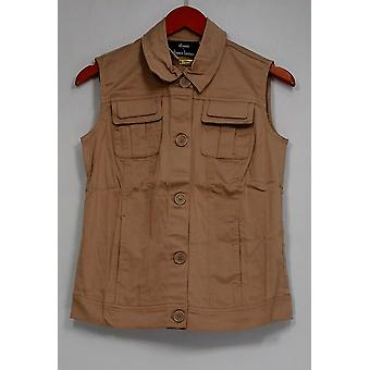 Dennis Basso Stretch Cotton Button Vest w/ Side Pockets Beige A254289