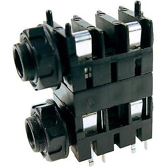 6.35 mm audio jack Socket, horizontal mount Number of pins: 2 Mono Black Cliff FCR1120 1 pc(s)