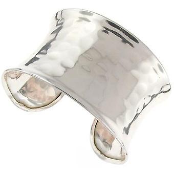Shiny Silver Hammered Bold Cuff Bangle
