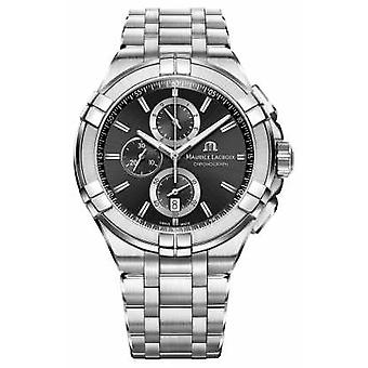 Maurice Lacroix Mens Aikon Chronograph Stainless Steel Bracelet Black Dial AI1018-SS002-330-1 Watch
