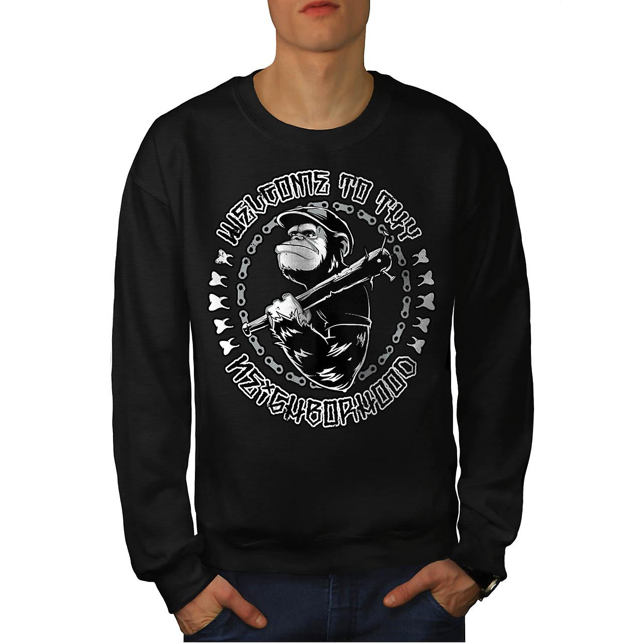 Singe chimpanzé hotte Bat voisin hommes Black Sweatshirt | Wellcoda