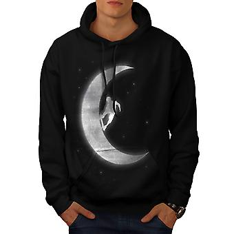 Skateboard On Moon Crazy Planet Men Black Hoodie | Wellcoda