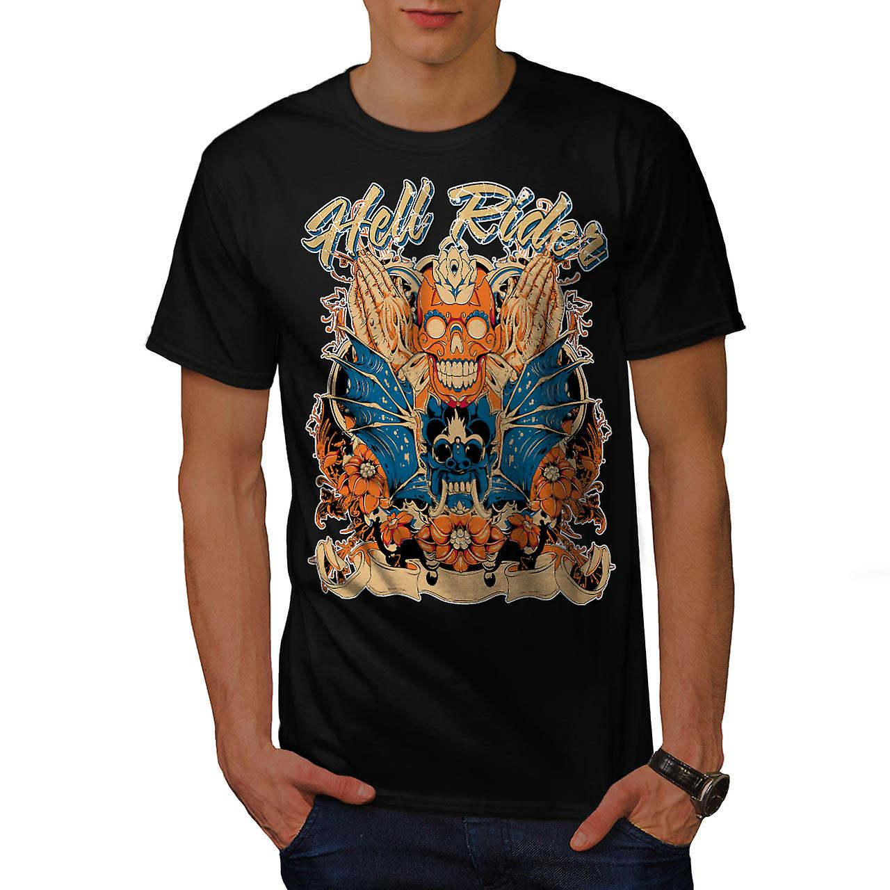 Helvetet Rider Samurai Warrior Mask män svart T-shirt | Wellcoda