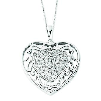 Sterling Silver Antiqued CZ To My GrandDaughter 18inch Heart Necklace