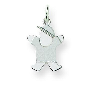 14k White Gold Mini Children Boy Charm - .8 Grams