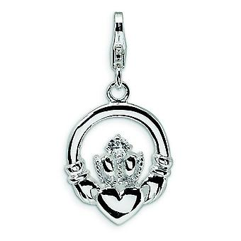 Sterling Silver CZ Claddagh With Lobster Clasp Charm - Measures 29x15mm