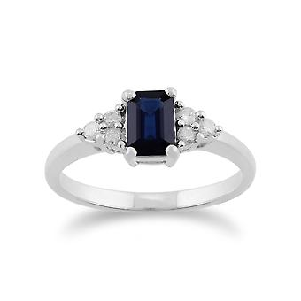 Gemondo 9ct White Gold 0.88ct Blue Sapphire & Diamond Ring
