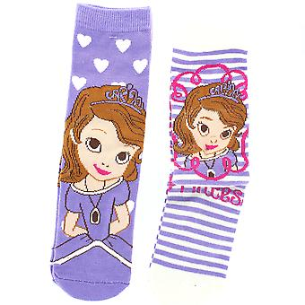 Disney Sofia the First Girls Two Pair of Children's Socks UK Size 12-2.5