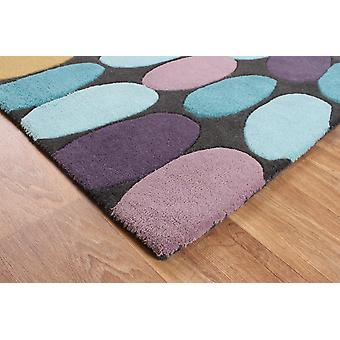 Matrix Purple  Teal  Yellow Pebbles Wool & Viscose Rug