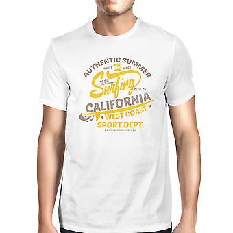 Authentieke zomer surfen Californië Mens wit korte mouwen Tshirt