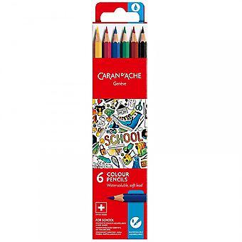 Caran d ' Ache Geneve wasserlösliche Farbe Bleistifte 6er Pack