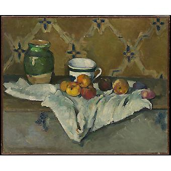 Paul Cezanne - Still Life with Jar Cup and Apples Poster Print Giclee