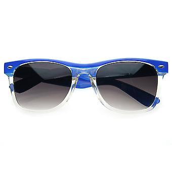 Retro Colorize Splash Half Frame Translucent Clear Horn Rimmed Sunglasses