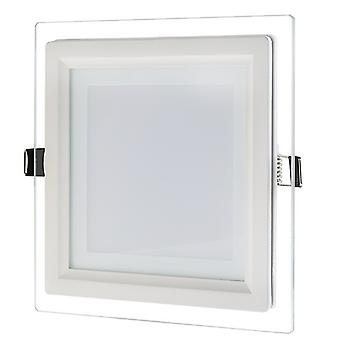 I LumoS LED 12 Watt Square Recessed Glass Lighting Panel Slim Ceiling Light