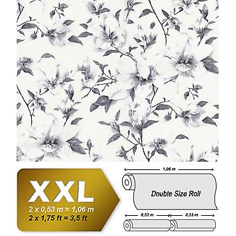 Flowers wallpaper EDEM 9080-20 non-woven wallpaper imprinted with floral ornaments shimmering white silver grey 10.65 m2