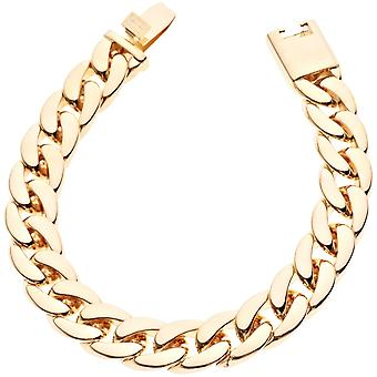 Iced out chain bracelet - CUBAN LINK 12 mm rose gold