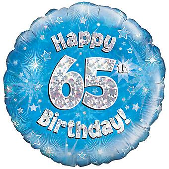 Oaktree 18 Inch Happy 65th Birthday Blue Holographic Balloon