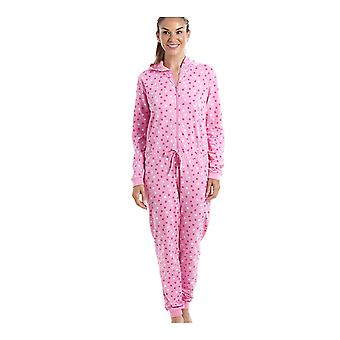 Camille Pink Cotton Star Print Hooded All In One Onesie