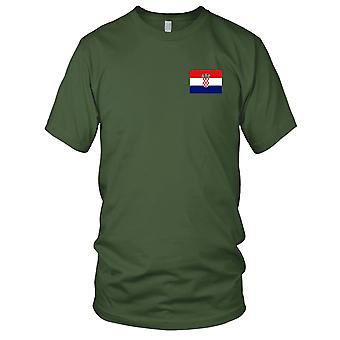 Kroatien Land Nationalflagge - Stickerei Logo - 100 % Baumwolle T-Shirt Damen T Shirt