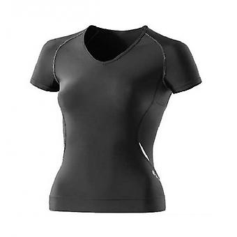 SKINS A400 women's Short Sleeve Top with v neck black with silver highlights - B41021004