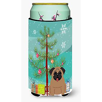 Merry Christmas Tree Pug Brown Tall Boy Beverage Insulator Hugger