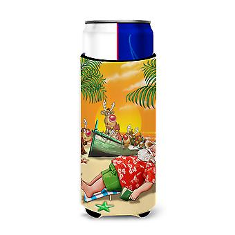 Beach Christmas Santa Claus Napping Ultra Beverage Insulators for slim cans