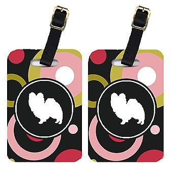 Carolines Treasures  KJ1105BT Pair of 2 Papillon Luggage Tags