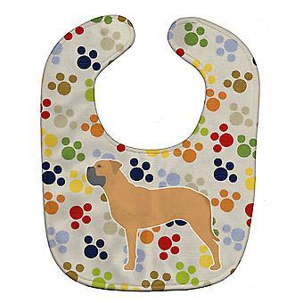Carolines Treasures  BB6376BIB Bullmastiff Pawprints Baby Bib