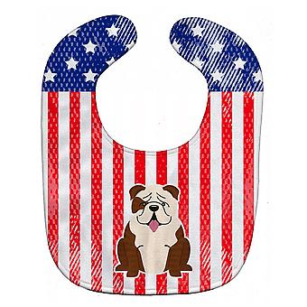 Patriotic USA English Bulldog Brindle White Baby Bib