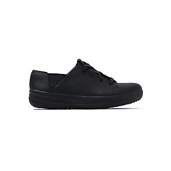 Women's F-Sporty Lace Up Trainers - Black Leather