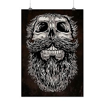 Matte or Glossy Poster with Beard Hipster Cool Skull | Wellcoda | *d2786