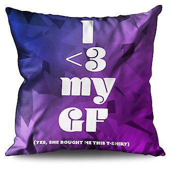 Funny Love Girlfriend Linen Cushion Funny Love Girlfriend | Wellcoda