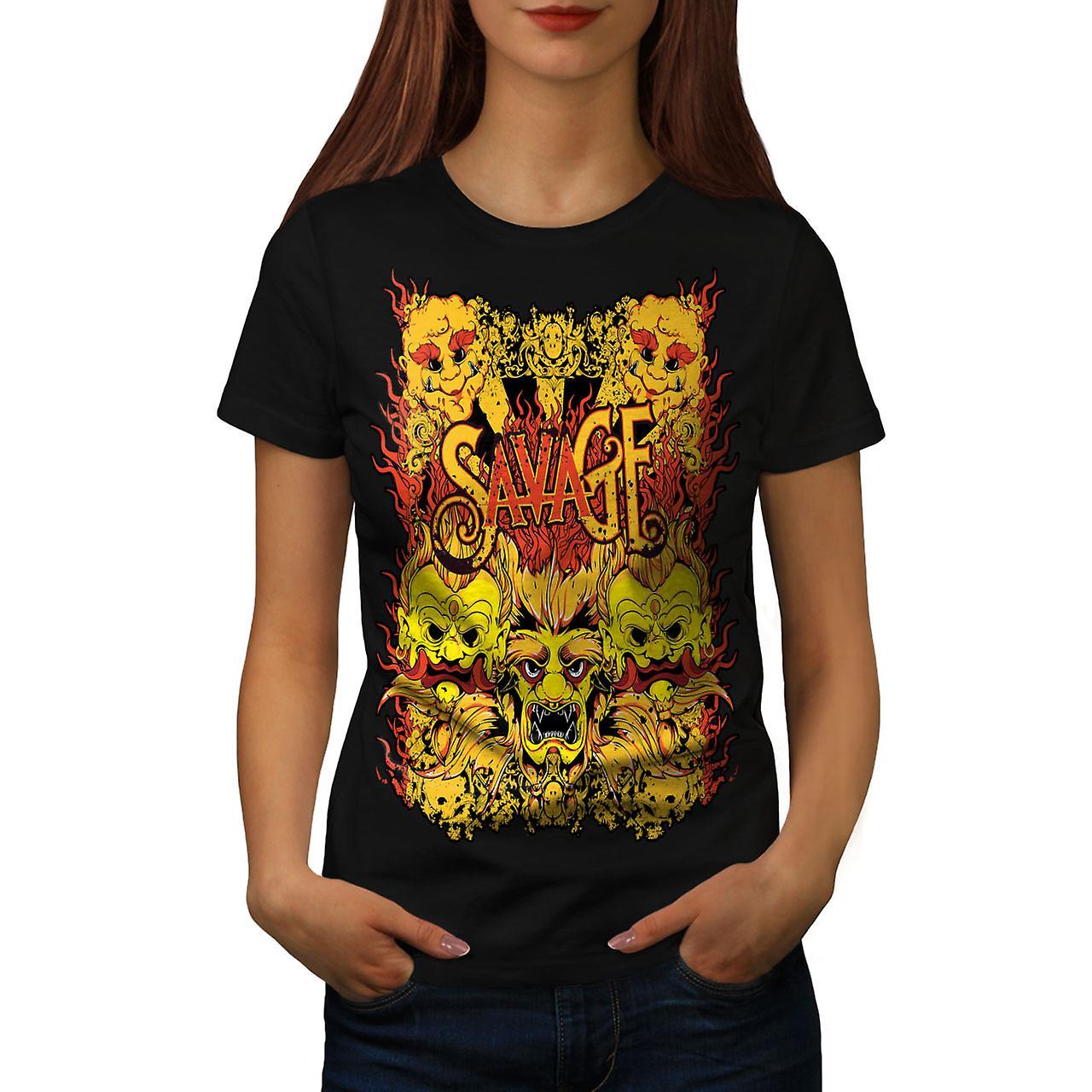 Savage Devil Japan Horror Women Black T-shirt | Wellcoda