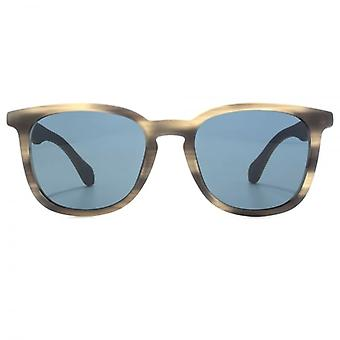 Hugo Boss Wooden Temple Keyhole Square Sunglasses In Horn Brown Blue