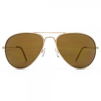 M:UK Portobello Classic Pilot Sunglasses In Gold