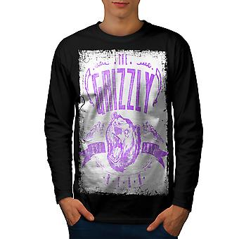 Grizzly Bear Club Men BlackLong Sleeve T-shirt | Wellcoda