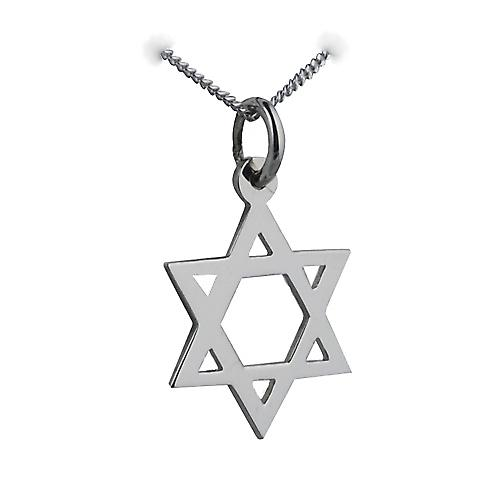 9ct White Gold 17x17mm plain Star of David Pendant with a curb Chain 16 inches Only Suitable for Children