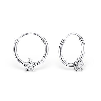 Star - 925 Sterling Silver orecchio Hoops