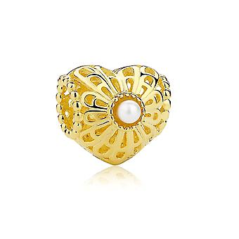 Charms Bead carved golden heart and Perle Blanche