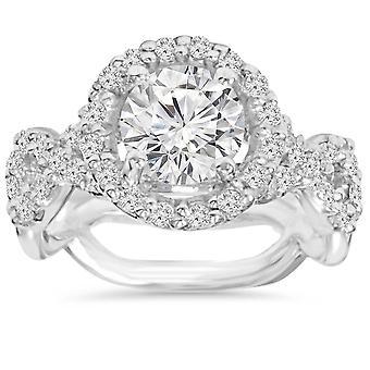 3.00CT Diamond Engagement Ring 14K White Gold
