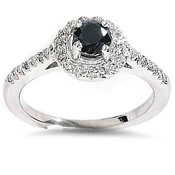 1ct черный бриллиантовое обручальное Halo кольцо 14K Белое золото