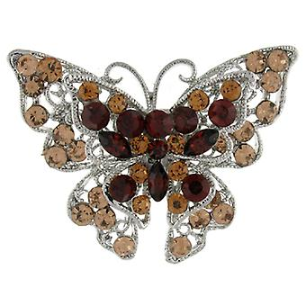 Brooches Store Double Butterfly Brown Crystal Brooch
