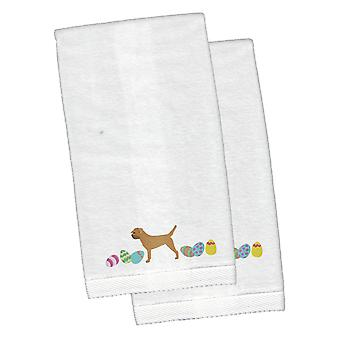 Border Terrier Easter White Embroidered Plush Hand Towel Set of 2