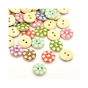 Packet 30 x Mixed/Beige Wood 15mm Round 2-Holed Patterned Sew On Buttons Y01605
