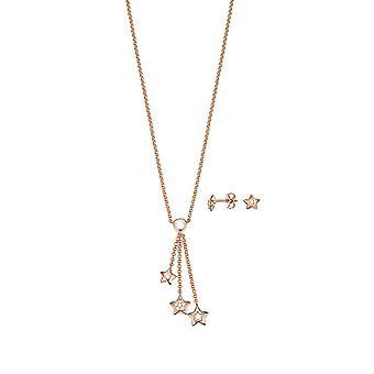 ESPRIT ladies necklace jewelry set JW52884 silver Rosé cubic zirconia star ESSE01033C400