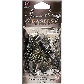 Jewelry Basics Metal Findings-Silver Ribbon Clamp Ends 35/Pkg