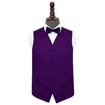 Purple Plain Satin Wedding Waistcoat & Bow Tie Set