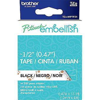 P-Touch Embellish Black Print Pattern Tape -Tan Paws